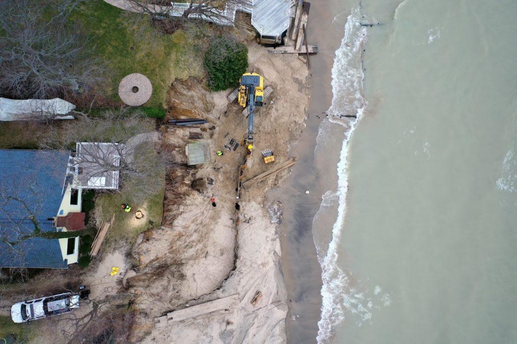 Aerial shoreline photo