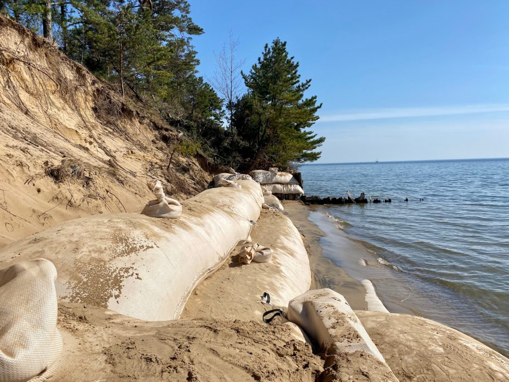 Geotextile tubes on a lakeshore
