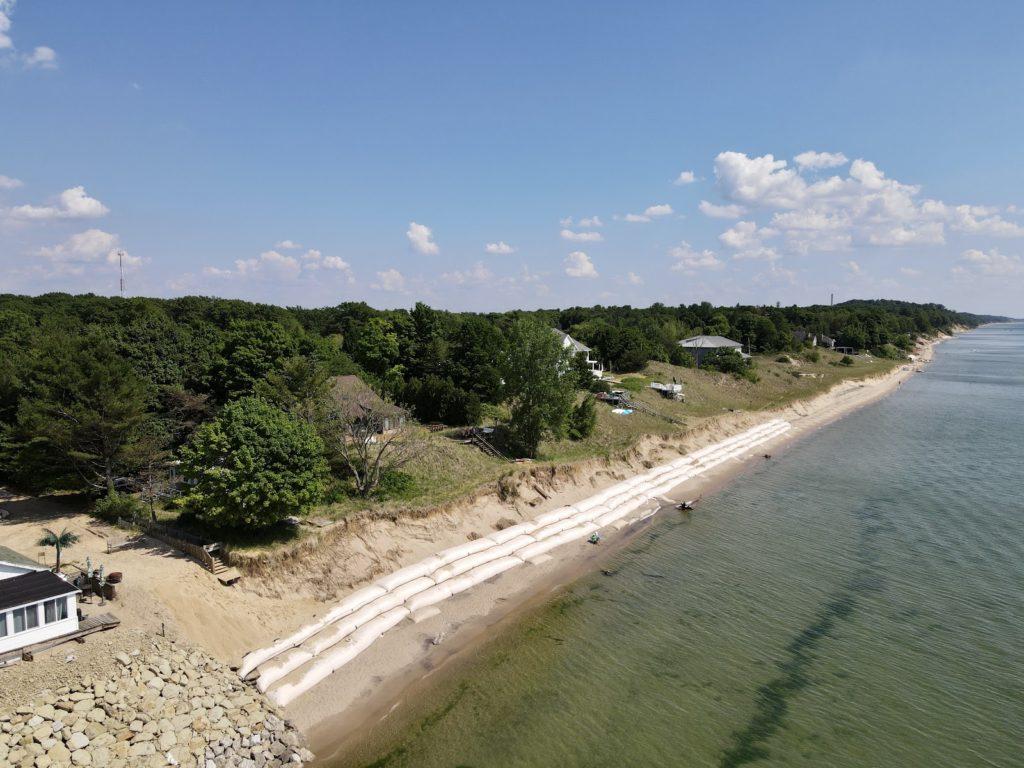 Geotextiles installed on shoreline