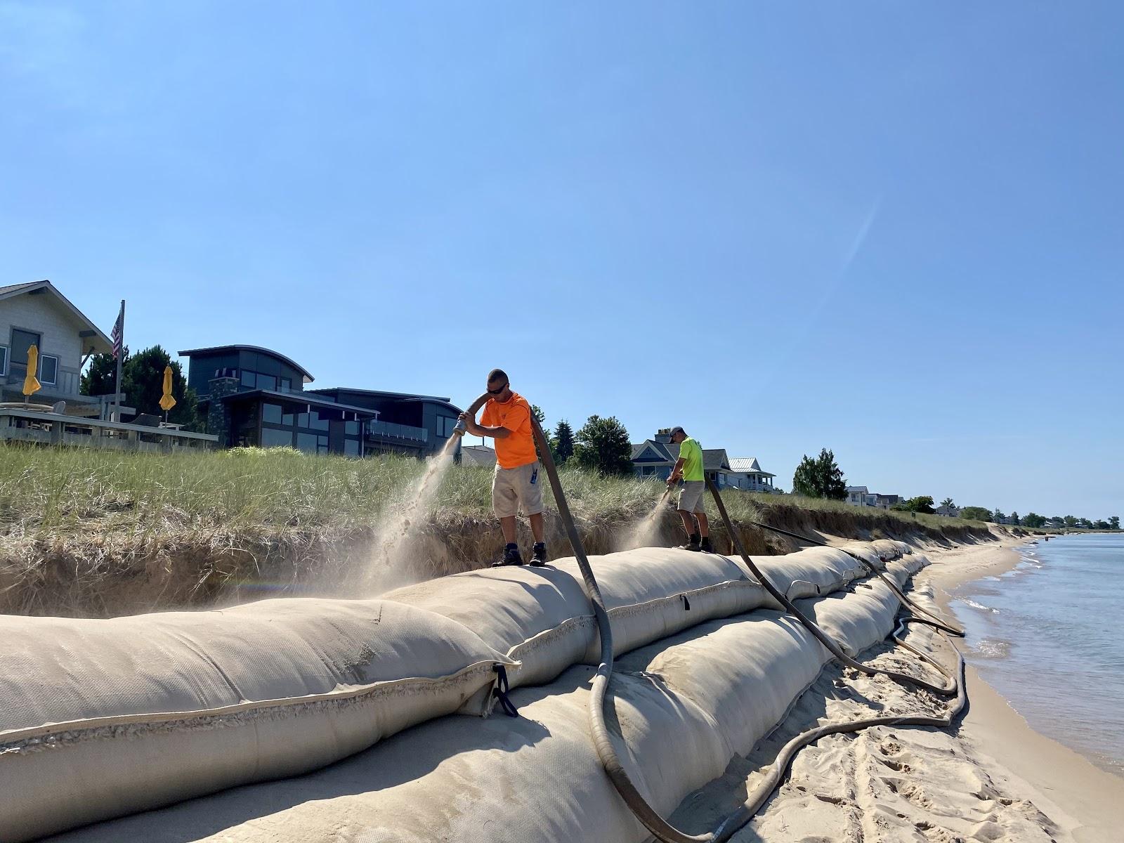 sand bag installation backfill