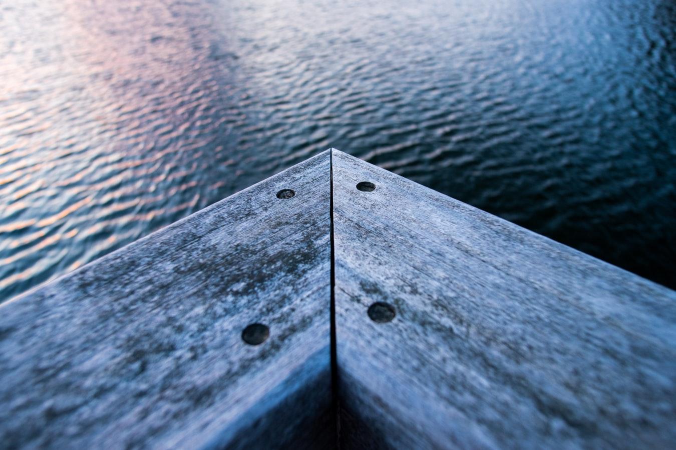 wood deck on lake