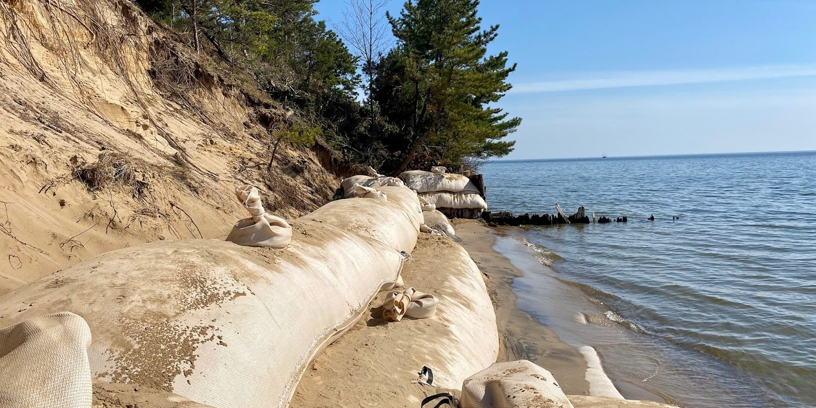 Geotubes on a lakeshore