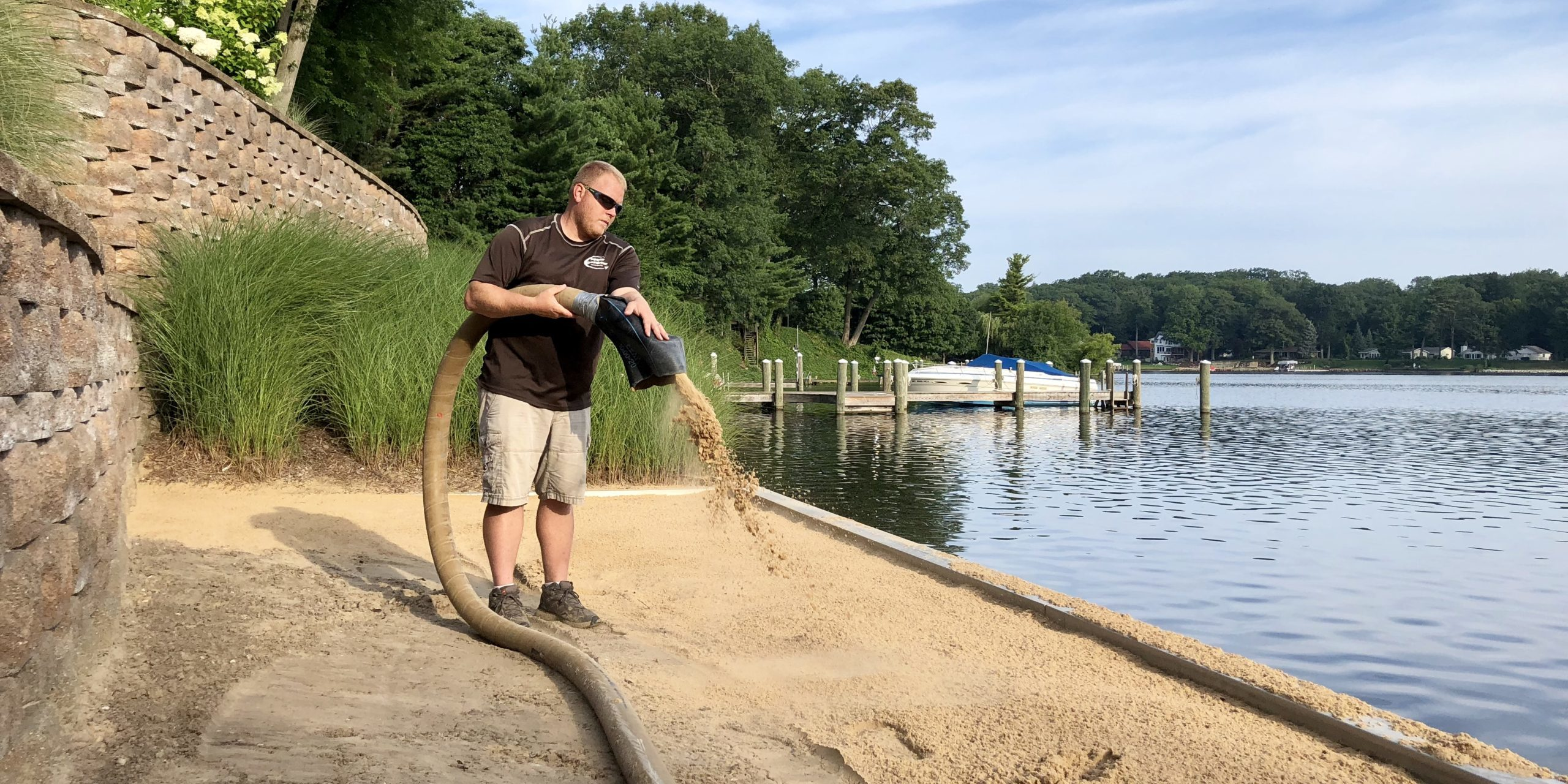 Sand blower truck beach sand