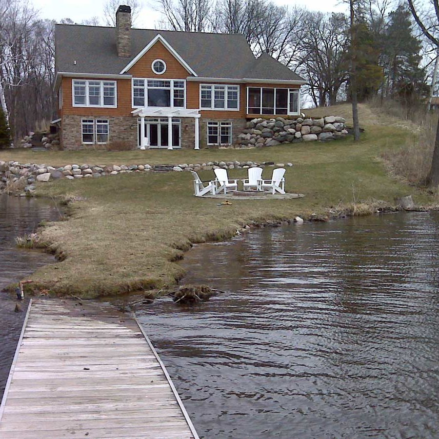 slope on a residential pond before erosion control