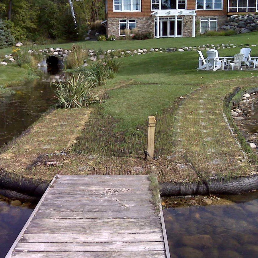 erosion control work on a residential pond
