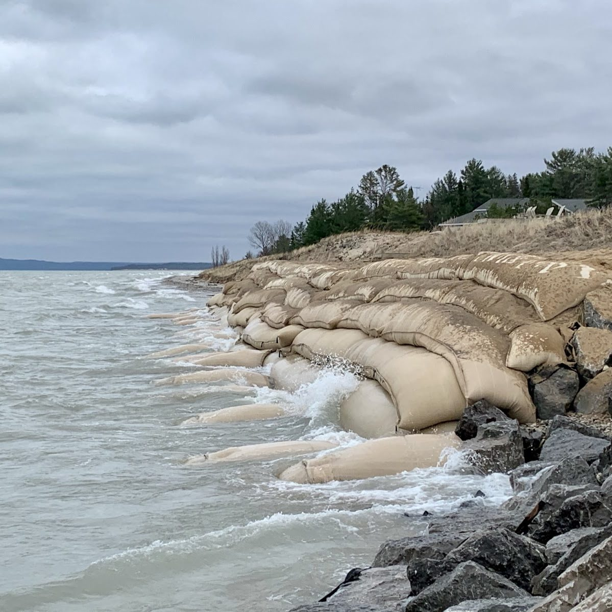 geotextiles and sandbags shoreline protection