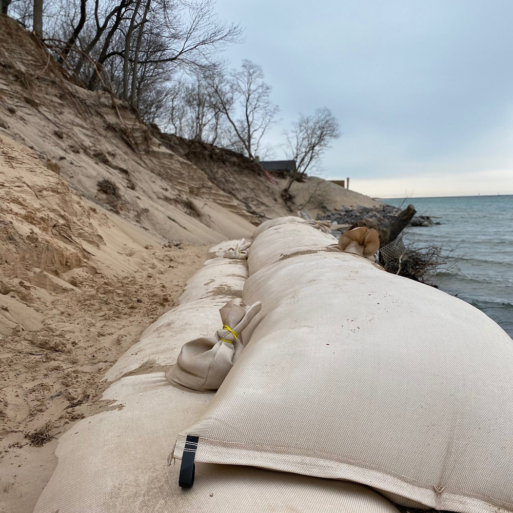 Sand Tubes on Lake Michigan to control erosion